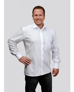 """Herrenhemd / modern fit  """"eterna"""" Langarm in weiss inkl. Stick """"MWM"""" Ton in Ton auf der linken Brust - körperbetonter Schnitt"""