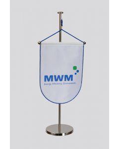 "Tischwimpel in weiß inkl. 3fbg. Logodruck ""MWM"""